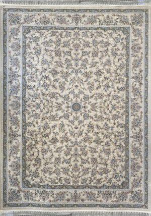 فرش کاشان -نقشه افشان مروارید ۱۵۰۰ شانه کرم گلبرجسته