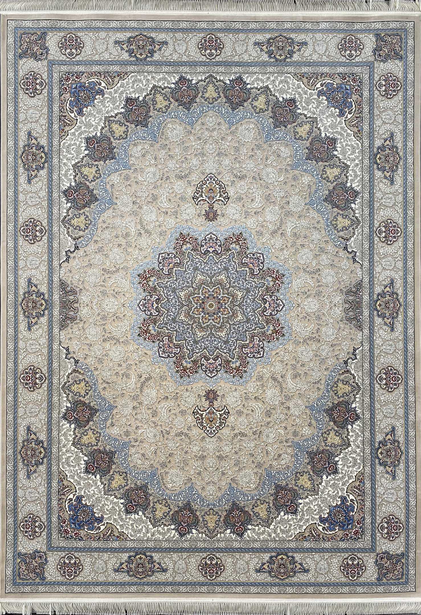 فرش کاشان -نقشه سروناز 1000 شانه کرم گلبرجسته