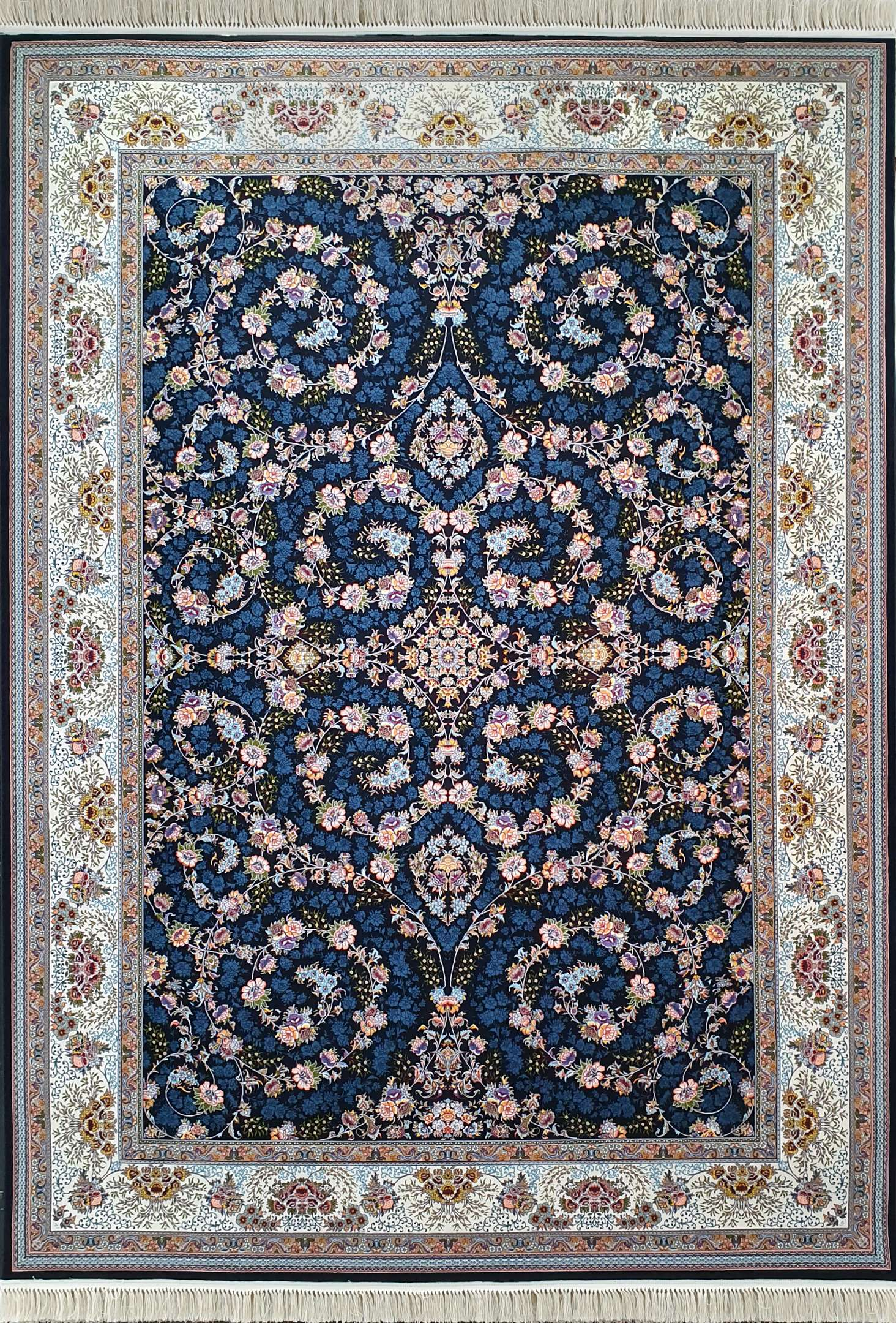 فرش کاشان – 1000 شانه نقشه افشان شاهان سرمه ای