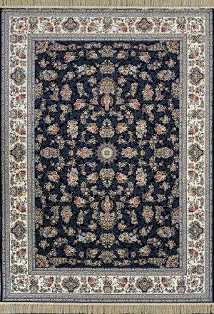 فرش کاشان – ۱۲۰۰ شانه نقشه زریسان رنگ سرمه ای