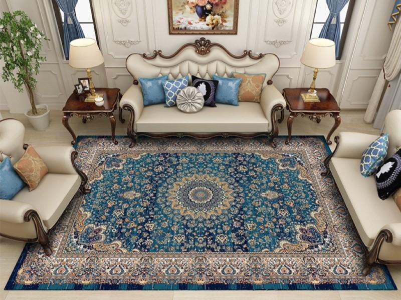 استفاده از فرش آبی و مبلمان قهوه ای در دکوراسیون خانه