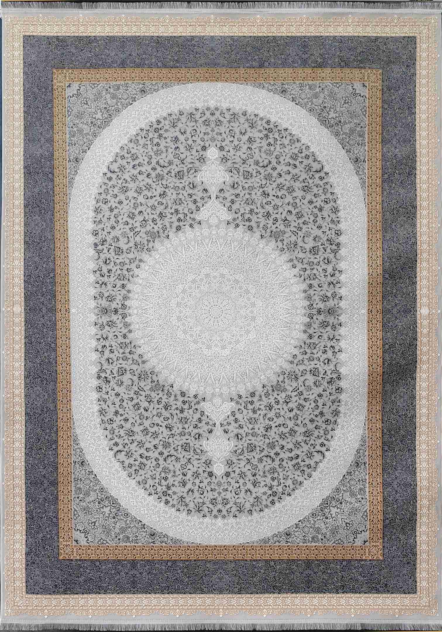 فرش طرح ملیسا نقره ای 1200 شانه گلبرجسته