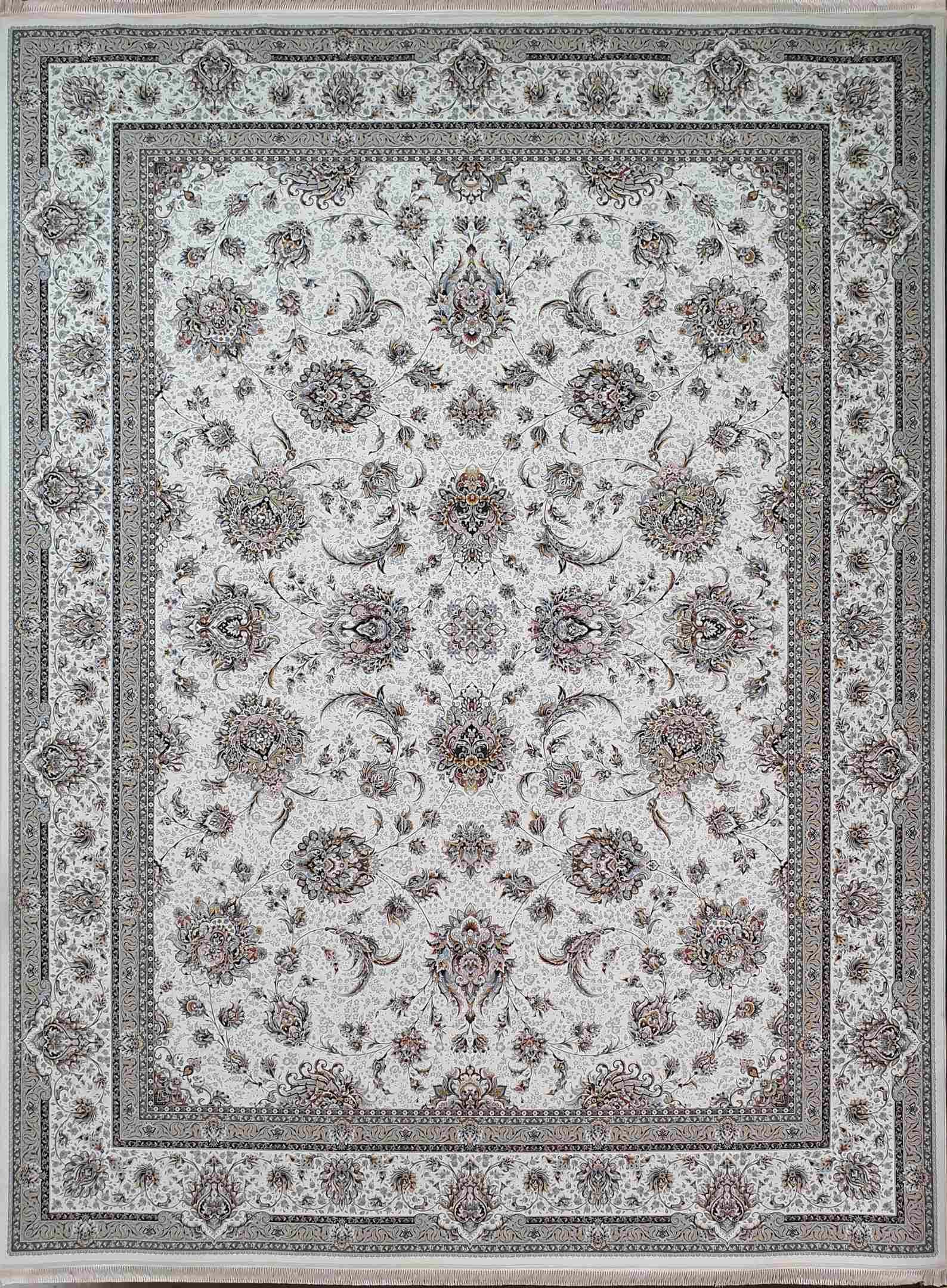 فرش 1500 شانه طرح افشان رنگ کرم