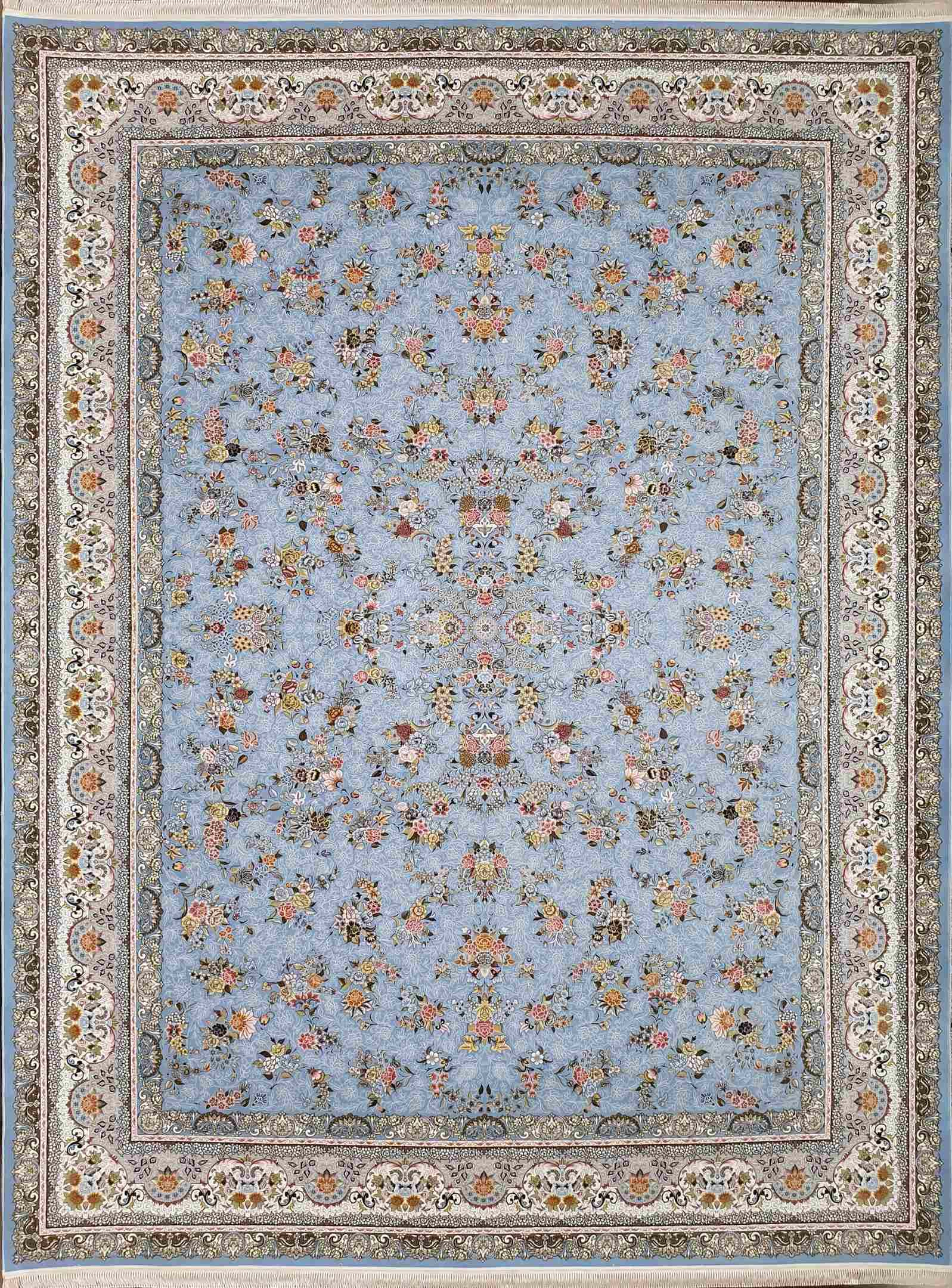 فرش 1500 شانه افشان بهار رنگ آبی