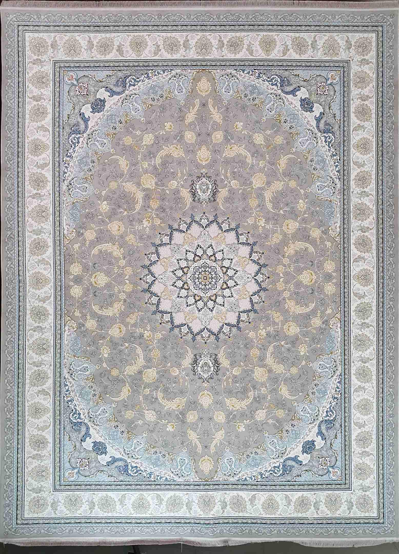 فرش  1200 شانه نقشه اصفهان گلبرجسته رنگ فیلی