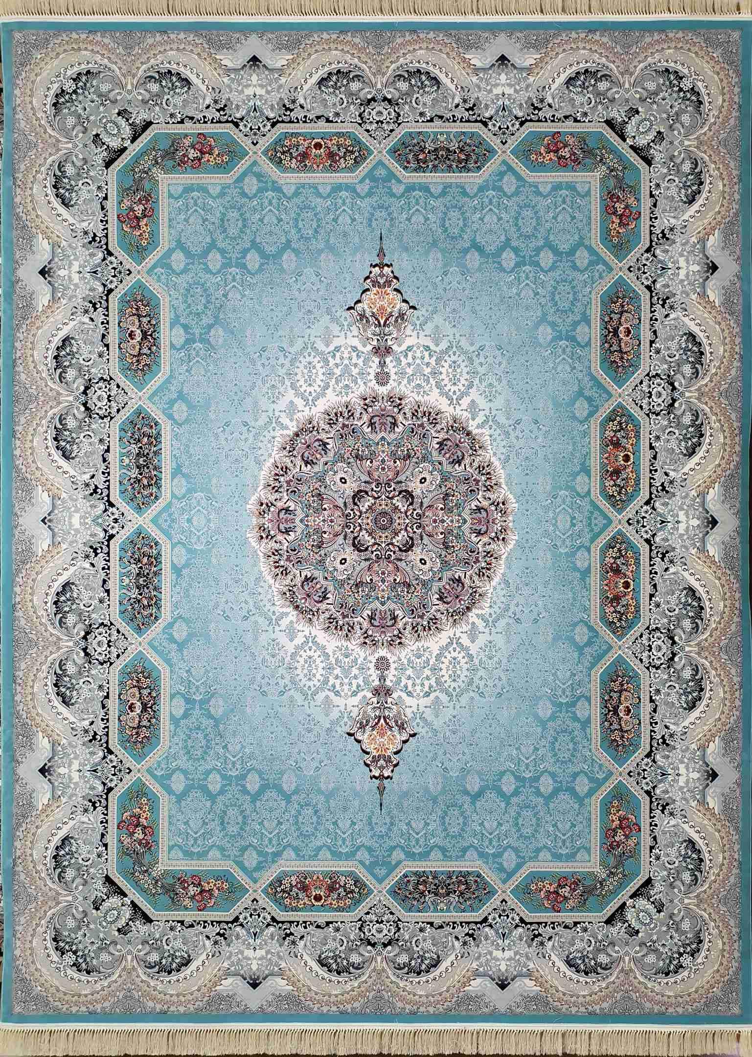 فرش  1200 شانه هالیدی رنگ آبی فیروزه ای