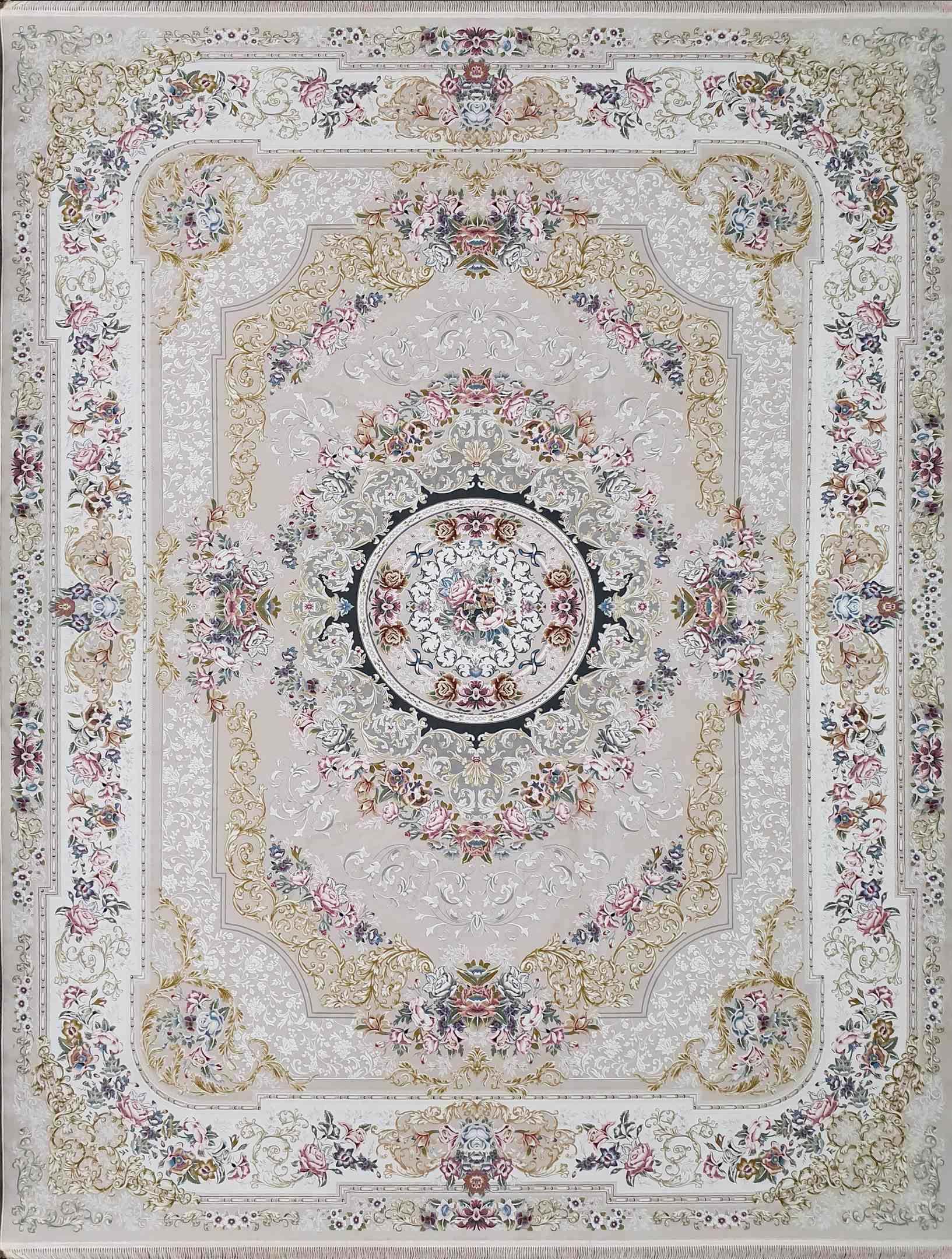 فرش  1200 شانه شانار رنگ کرم گلبرجسته