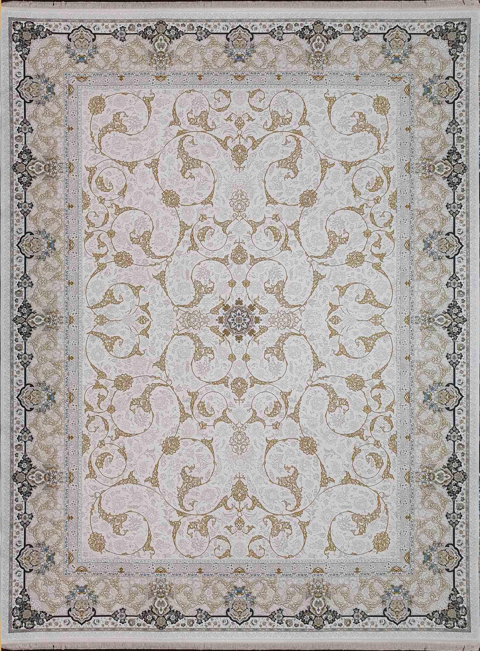 فرش  1200 شانه اسلیمی گلبرجسته رنگ کرم