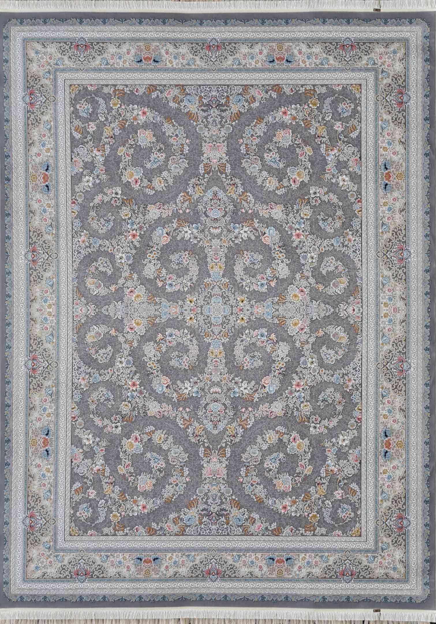 فرش 1000 شانه افشان گلبرجسته رنگ نقره ای