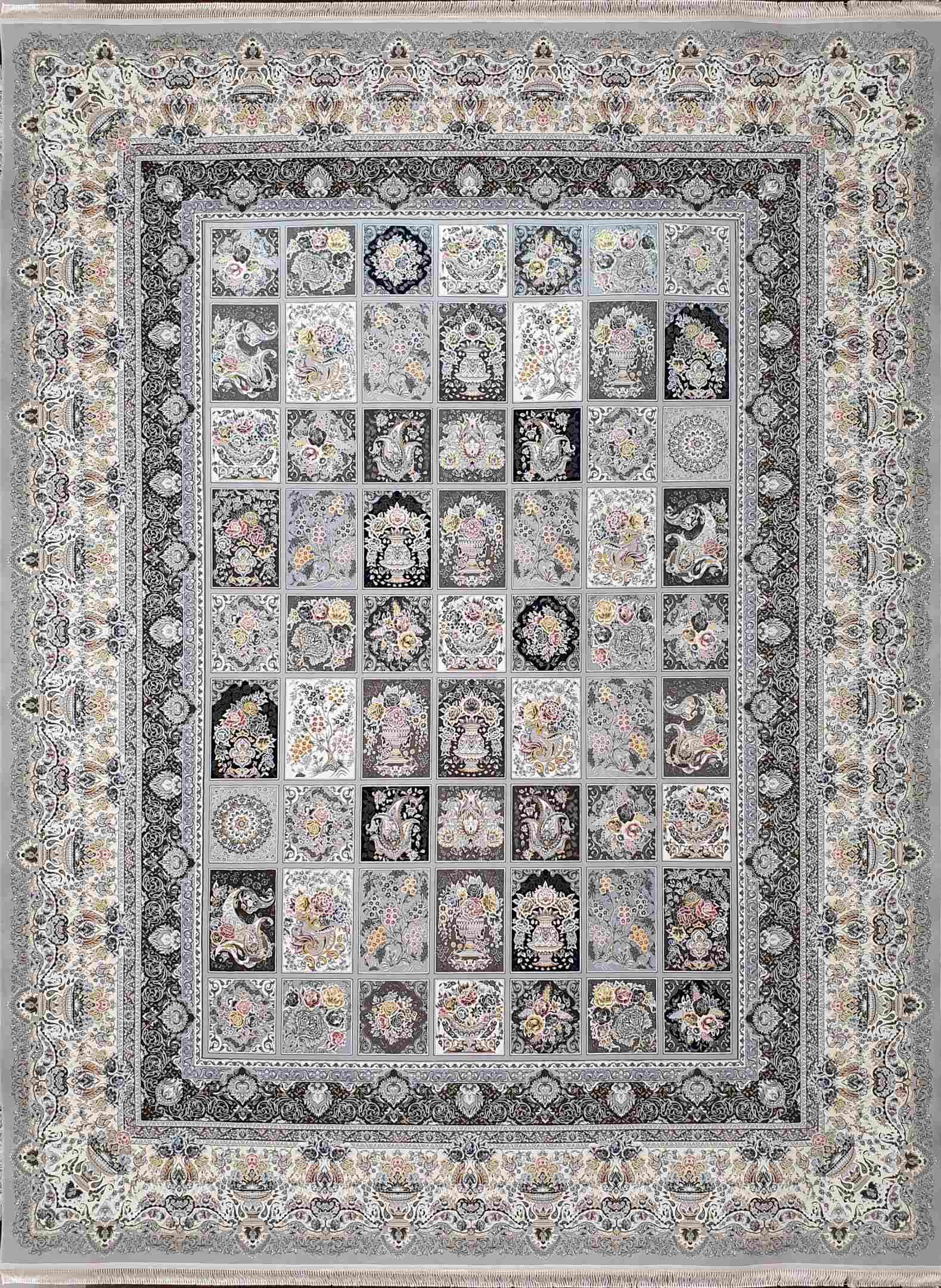 فرش 1500 شانه نقشه خشتی ارسباران سیلور
