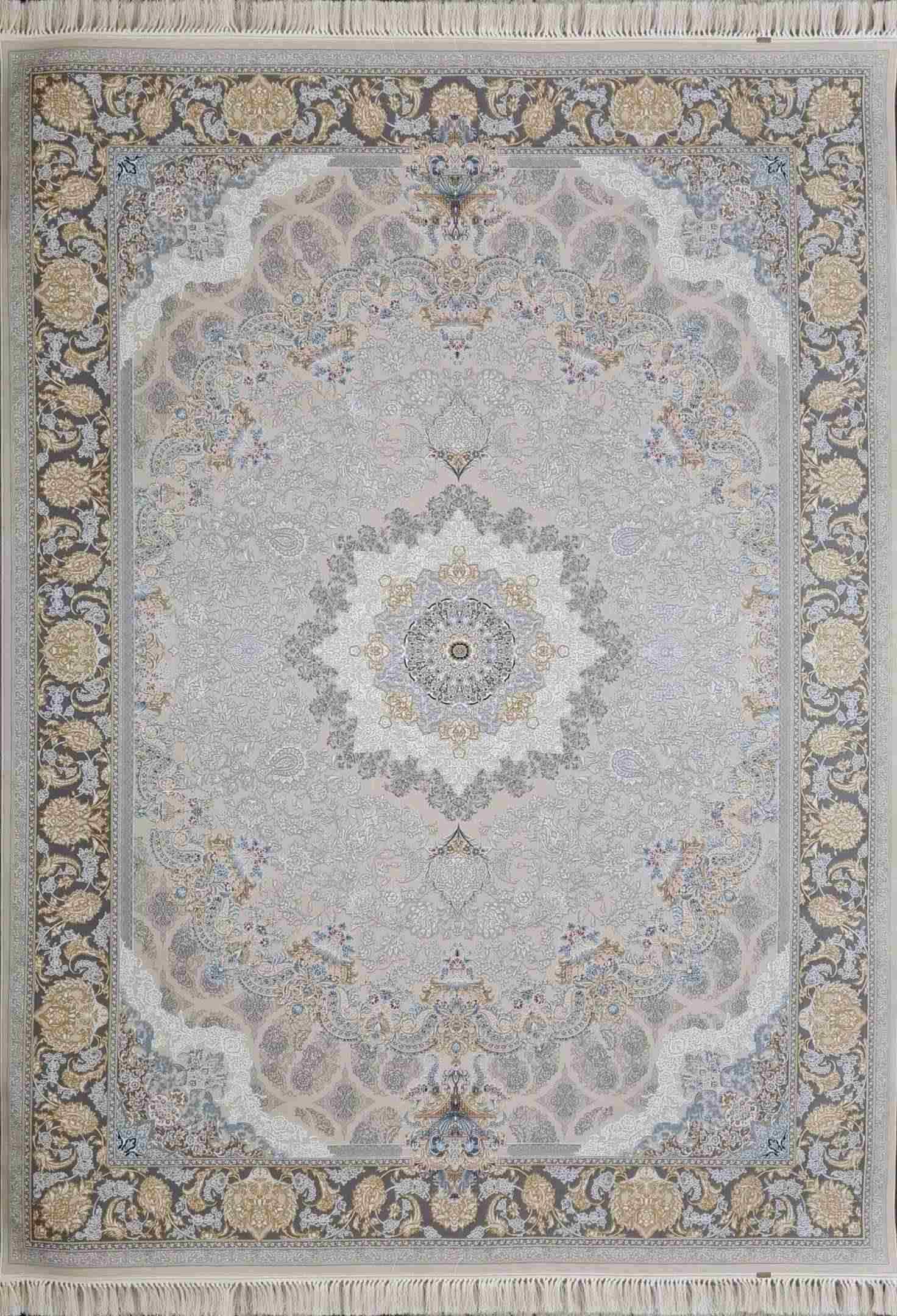 فرش 1000 شانه نقشه اصفهان رنگ کرم گلبرجسته