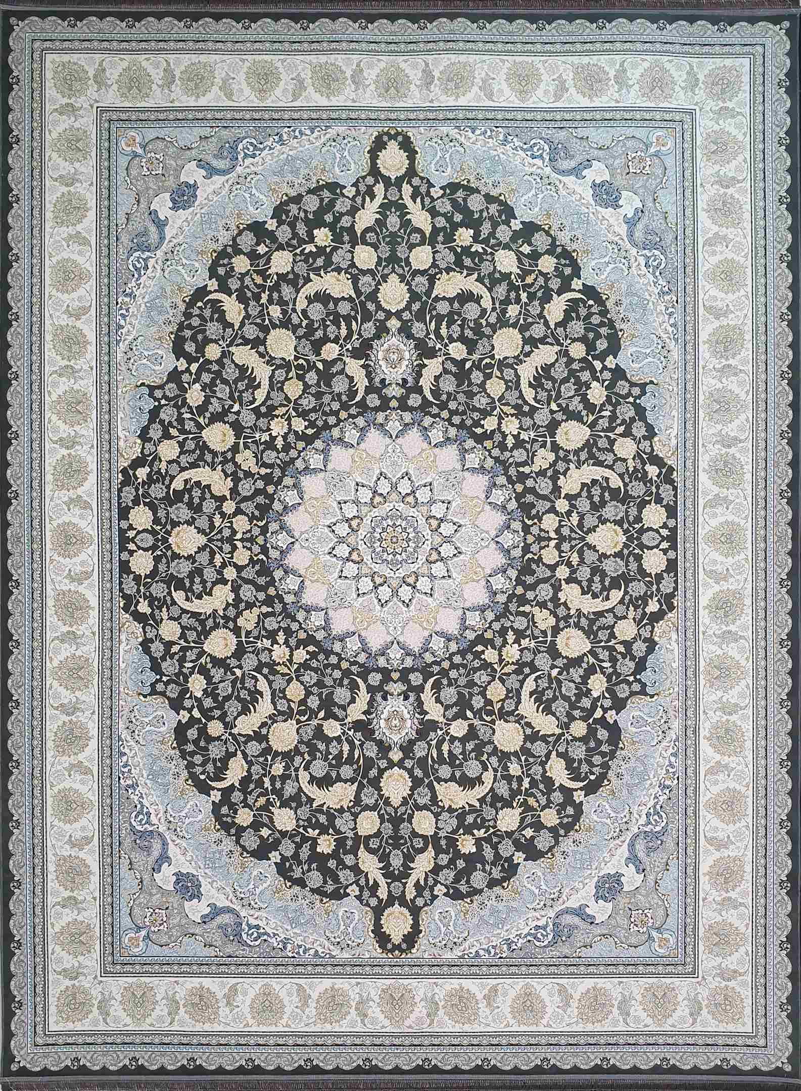 فرش  1200 شانه اصفهان رنگ سرمه ای گلبرجسته