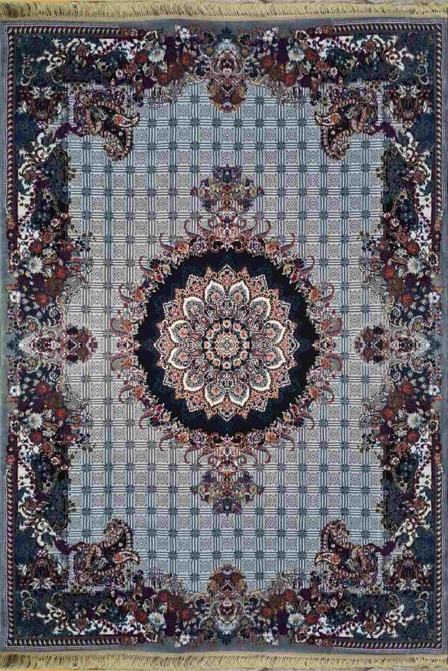 فرش خشتی 500 شانه نقشه رها رنگ فیلی