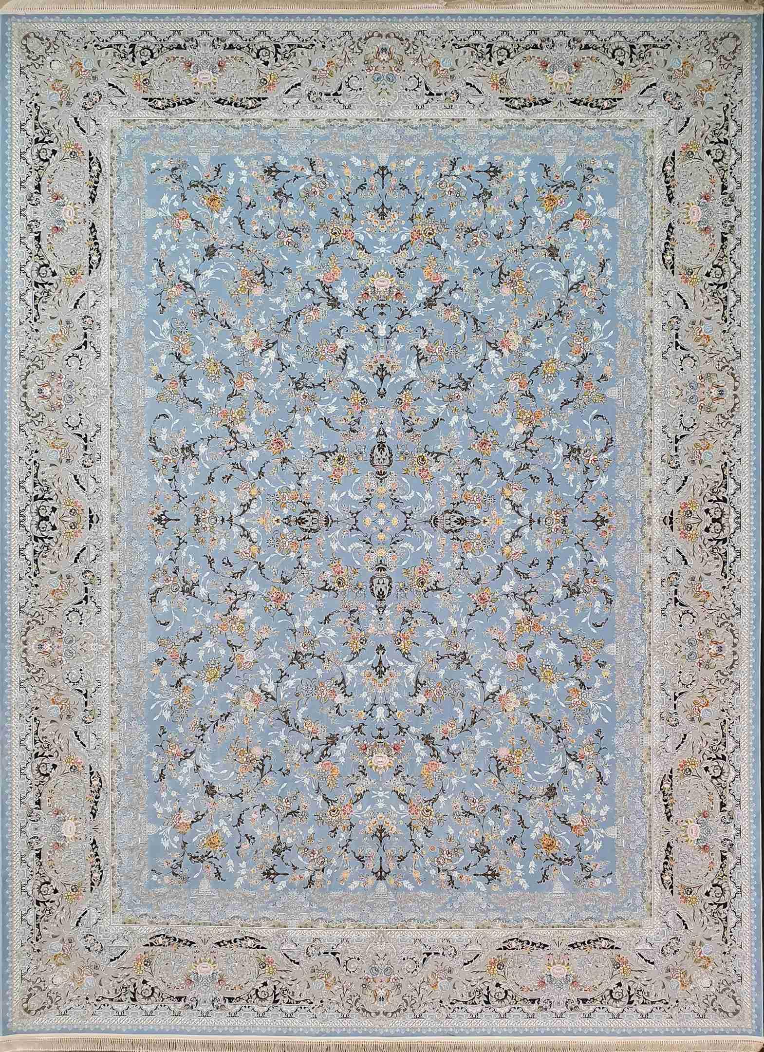 فرش افشان آبی نقشه روژان 1500 شانه