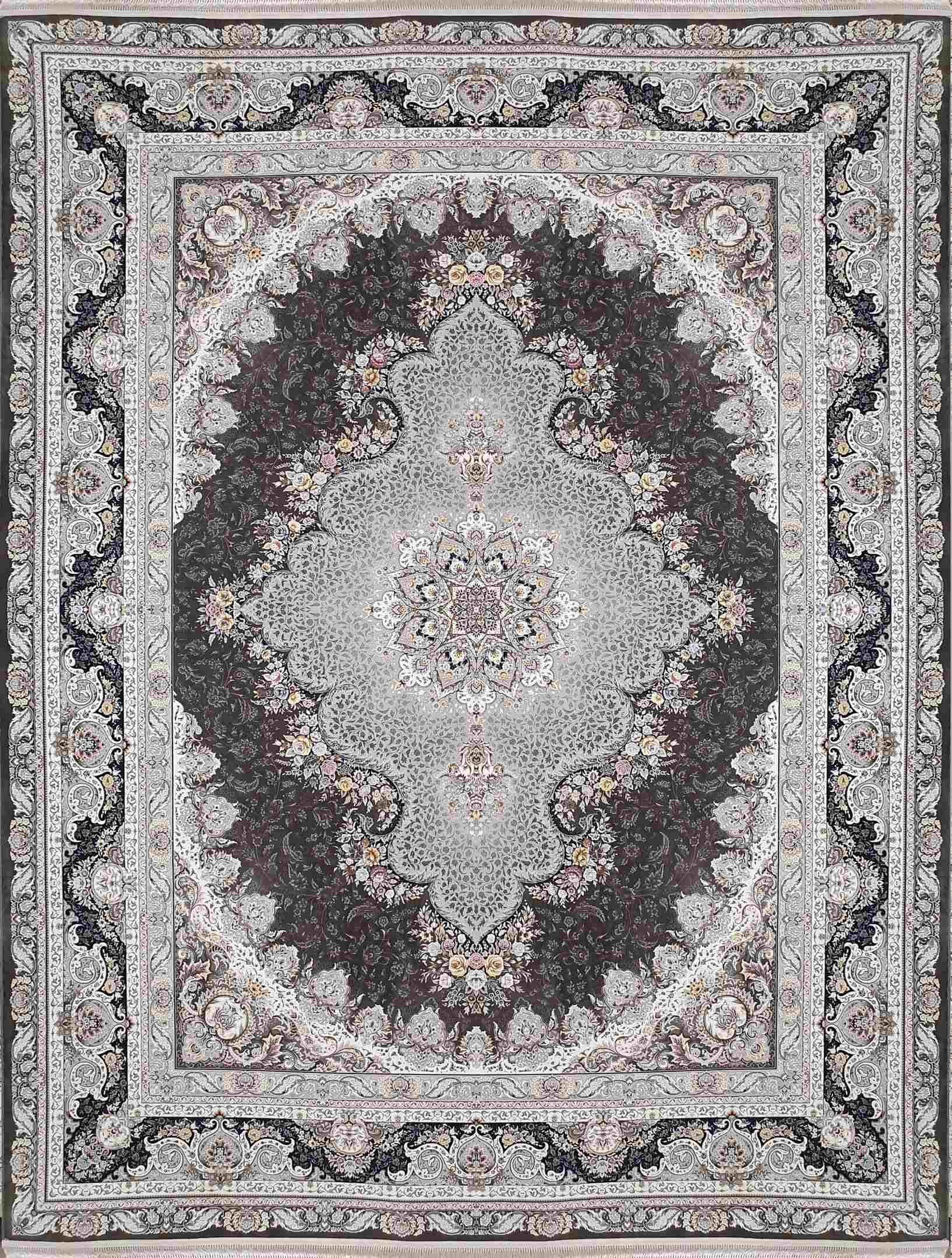 نقشه جدید فرش 1500 شانه سپنتا رنگ دودی