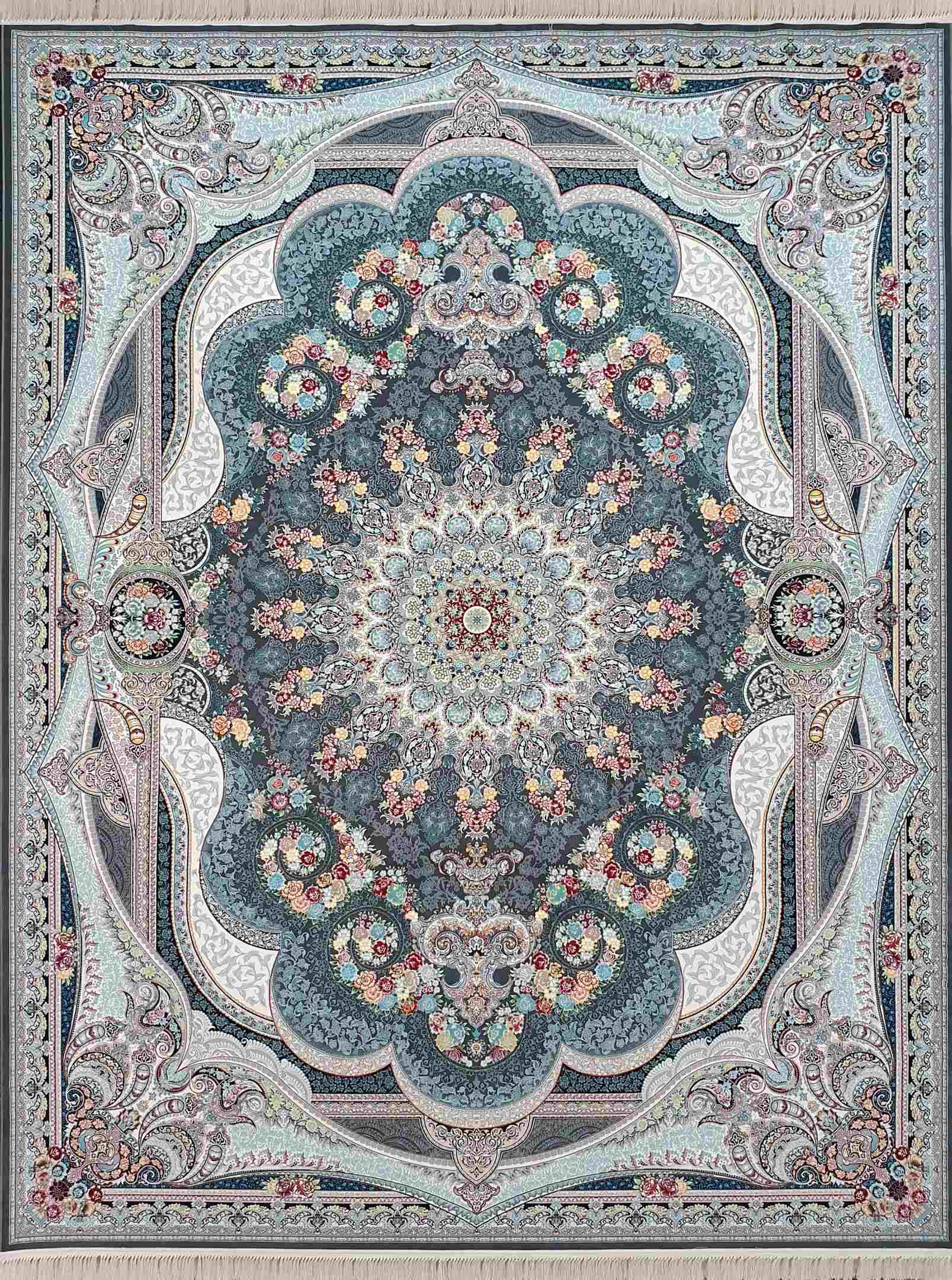 فرش بدون حاشیه شاهچرغ رنگ دودی 1200 شانه